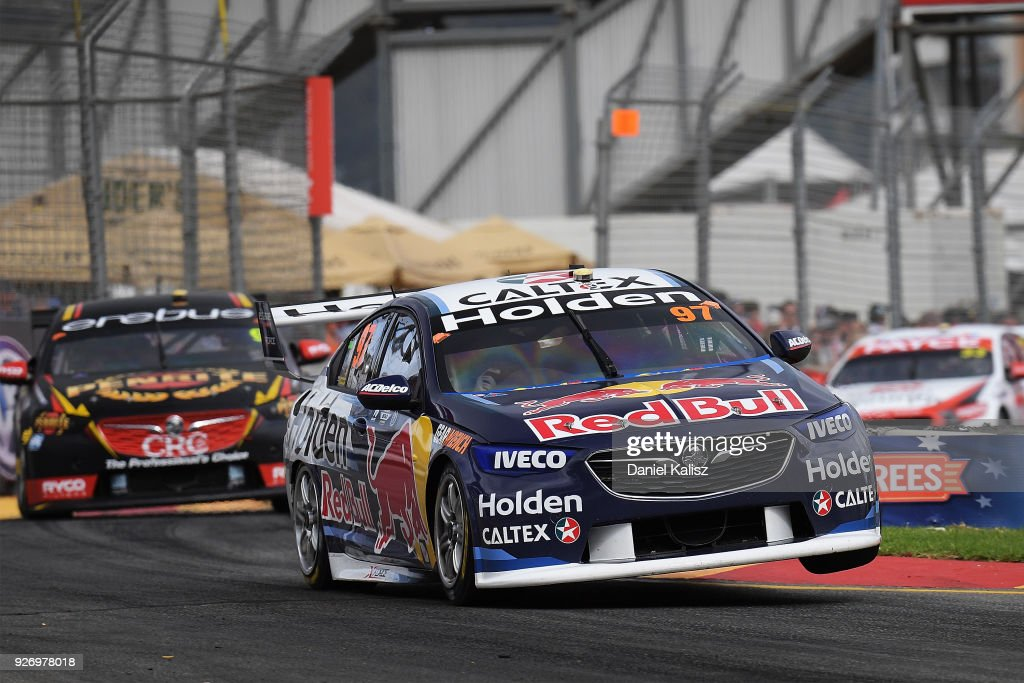 Shane Van Gisbergen drives the #97 Red Bull Holden Racing Team Holden Commodore ZB leads David Reynolds drives the #9 Erebus Penrite Racing Holden Commodore ZB and Garth Tander drives the #33 Wilson Security Racing GRM Holden Commodore ZB during race 2 for the Supercars Adelaide 500 on March 2, 2018 in Adelaide, Australia.