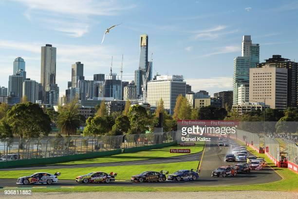Shane Van Gisbergen drives the Red Bull Holden Racing Team Holden Commodore ZB during race 1 for the Supercars Australian Grand Prix round at Albert...