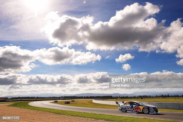 Shane Van Gisbergen drives the Red Bull Holden Racing Team Holden Commodore ZB during practice for the Supercars Tasmania SuperSprint on April 7 2018...