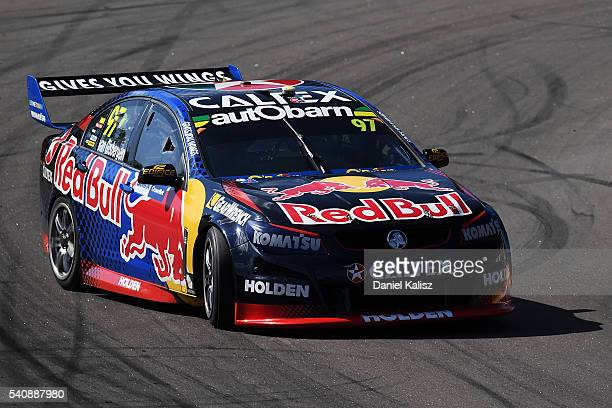 Shane Van Gisbergen drives the Red Bull Racing Australia Holden Commodore VF during V8 Supercars practice ahead of the Darwin Triple Crown at Hidden...