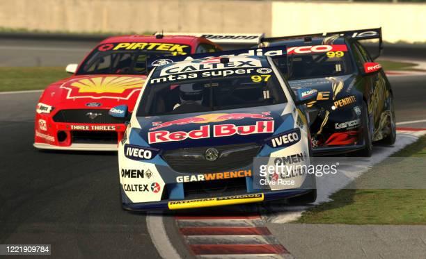 Shane van Gisbergen driving the Red Bull Holden Racing Team Holden Commodore ZB and Scott McLaughlin driving the Shell VPower Racing Team Ford...
