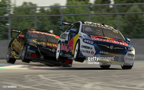 Shane van Gisbergen driving the Red Bull Holden Racing Team Holden Commodore ZB leads Anton De Pasquale during round 4 of the Supercars All Stars...