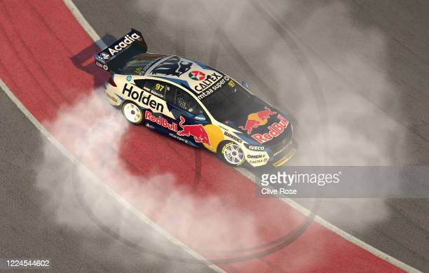 Shane van Gisbergen driving the Red Bull Holden Racing Team Holden Commodore ZB celebrates his win during round 6 of the Supercars All Stars Eseries...