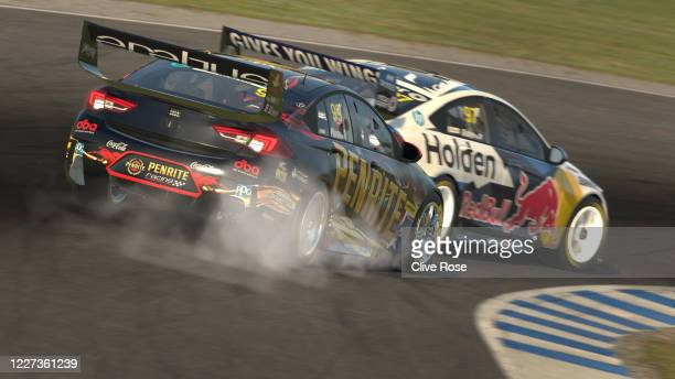 Shane van Gisbergen driving the Red Bull Holden Racing Team Holden Commodore ZB survives a late lunge for position by Anton de Pasquale driving the...