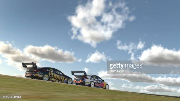 Shane van Gisbergen driving the Red Bull Holden Racing Team Holden Commodore ZB battles with Anton de Pasquale driving the Penrite Racing Holden...