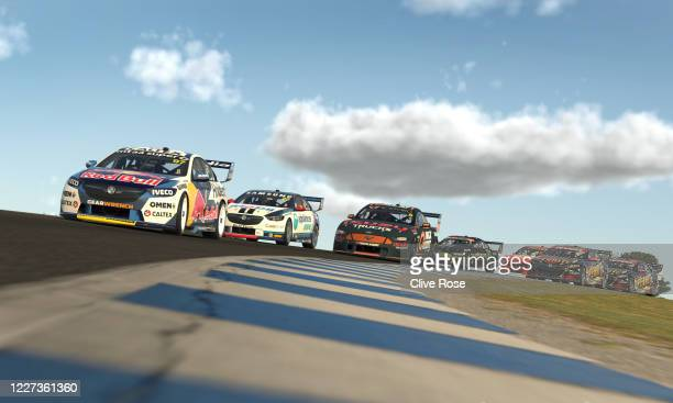 Shane van Gisbergen driving the Red Bull Holden Racing Team Holden Commodore ZB leads the field during round 8 of the Supercars All Stars Eseries at...