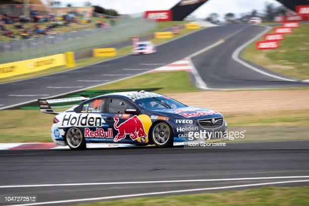 Shane van Gisbergen / Earl Bamber in the Red Bull Holden Racing Team Holden Commodore around the last corner at the Supercheap Auto Bathurst 1000 V8...