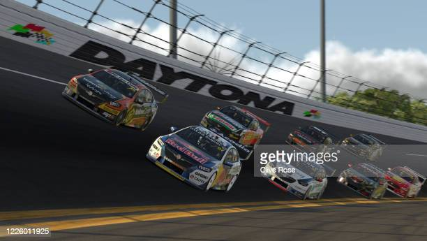 Shane van Gisbergen heads the field in the Red Bull Holden Racing Team Holden Commodore ZB during round 7 of the Supercars All Stars Eseries at...