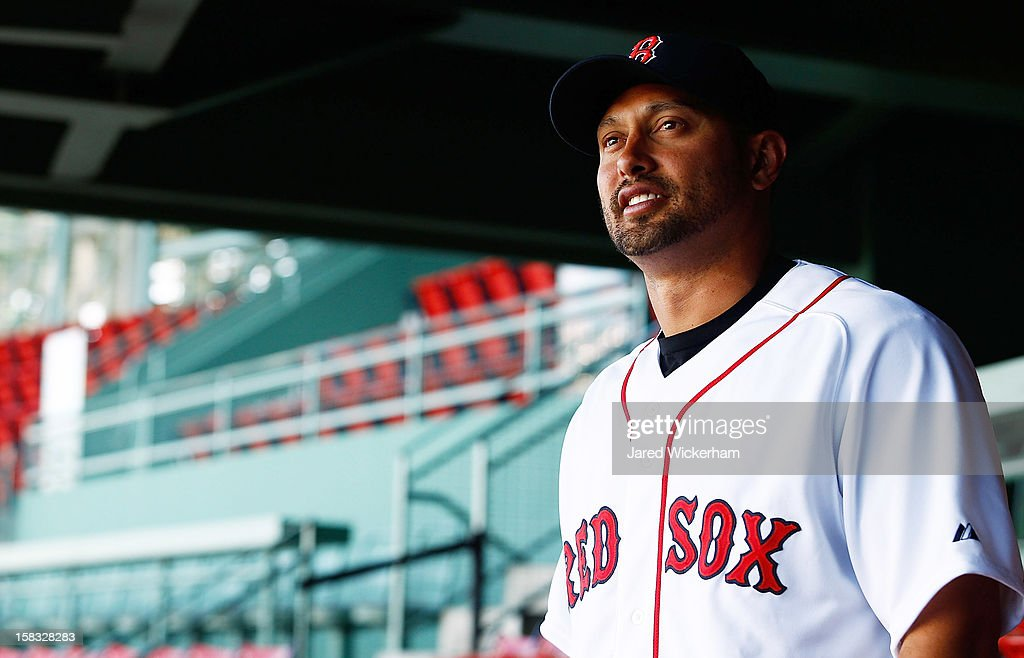 Shane Victorino of the Boston Red Sox looks out at over the ballpark after signing a three-year contract and being introduced during a press conference, on December 13, 2012 at Fenway Park in Boston, Massachusetts.