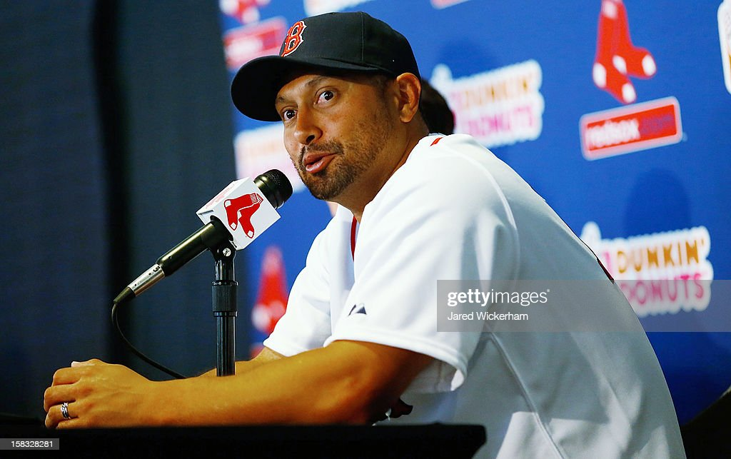 Shane Victorino of the Boston Red Sox speaks during a press conference, after signing a three-year contract, on December 13, 2012 at Fenway Park in Boston, Massachusetts.