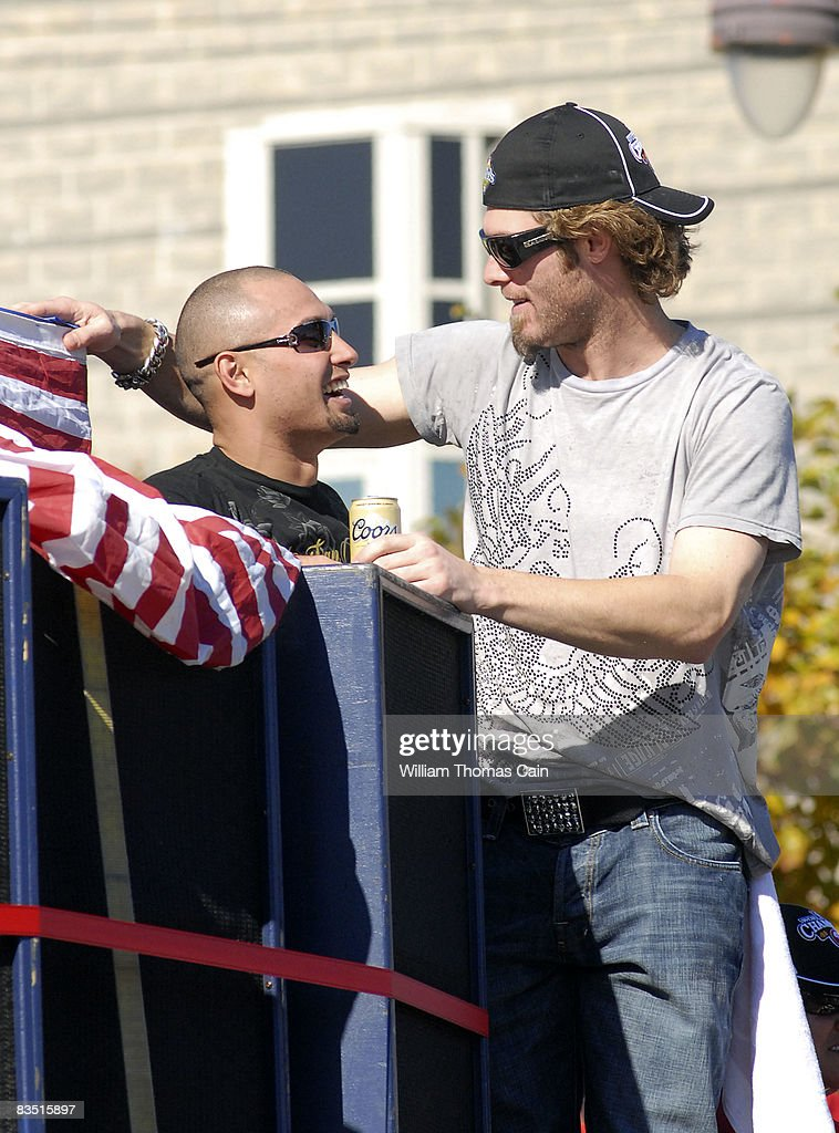 Shane Victorino of the Philadelphia Phillies and teammate Jayson Werth (R) celebrate during the World Championship Parade October 31, 2008 in Philadelphia, Pennsylvania. The Phillies defeated the Tampa Bay Rays to win their first World Series in 28 years.