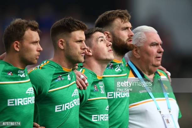 Shane Walsh of Ireland looks on as the national anthems are sung during game two of the International Rules Series between Australia and Ireland at...
