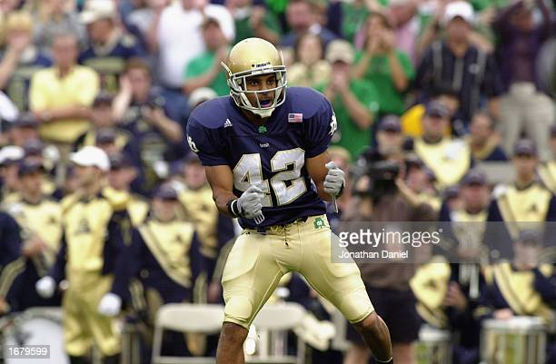 Shane Walton of the Notre Dame Fighting Irish celebrates during the game against the Pittsburgh Panthers on October 12, 2002 at Notre Dame Stadium in...