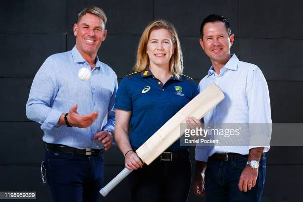 Shane Warne, Alex Blackwell and Ricky Ponting pose for a photograph during a Cricket Australia media opportunity at Melbourne Cricket Ground on...