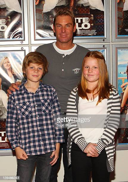 Shane Warne along with his daughter Brooke Warne and son Jackson Warne arrive at the Melbourne Premiere of 'Monte Carlo' at Hoyts Cinemas Melbourne...