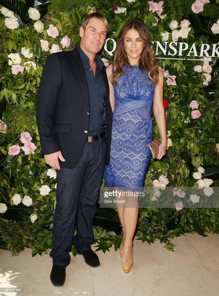 Shane Warne and Elizabeth Hurley attend a Queenspark breakfast to celebrate the brand's Summer 2013 collection on November 8, 2013 in Sydney, Australia.