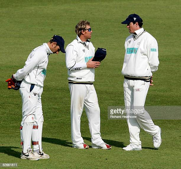 Shane Warne and Kevin Pietersen of Hampshire talk during the Frizzell County Championship Division 1 match between Sussex and Hampshire, at Hove...
