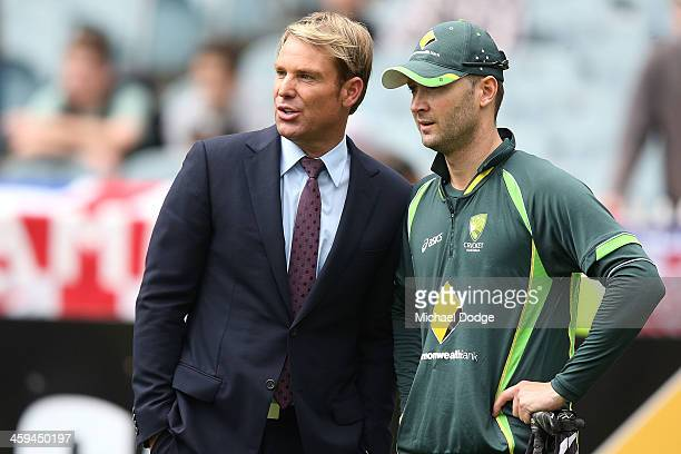 Shane Warne and Michael Clarke look ahead during day two of the Fourth Ashes Test Match between Australia and England at Melbourne Cricket Ground on...