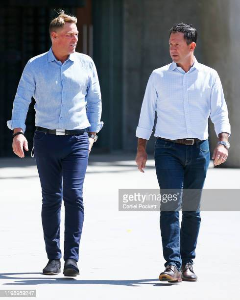 Shane Warne and Ricky Ponting arrive to speak to the media during a Cricket Australia media opportunity at Melbourne Cricket Ground on January 12,...