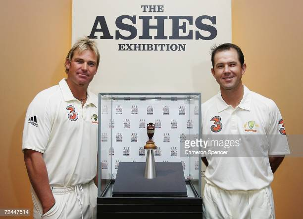 Shane Warne and Ricky Ponting of the Australian cricket team pose with the Ashes Urn at the Ashes Series official launch at the Museum of Sydney on...