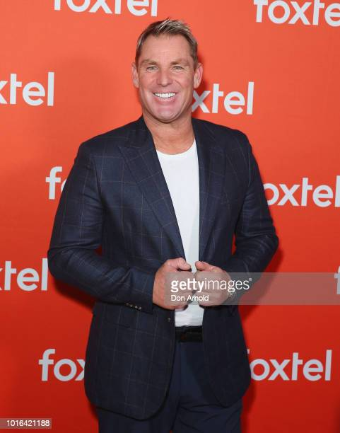 Shane Warne arrives ahead of the Foxtel Launch Event at Fox Studios on August 14, 2018 in Sydney, Australia.