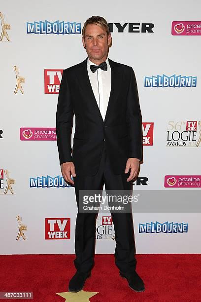 Shane Warne arrives at the 2014 Logie Awards at Crown Palladium on April 27 2014 in Melbourne Australia