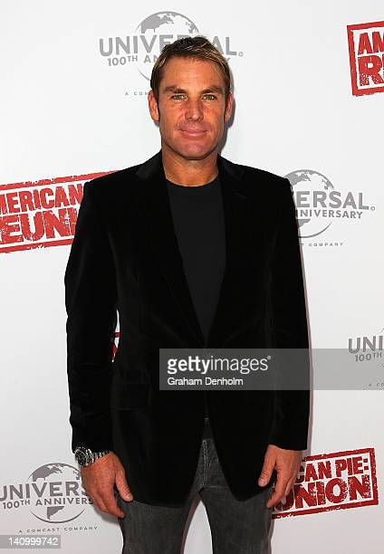 Shane Warne arrives at the Australian premiere of 'American Pie Reunion' on March 7 2012 in Melbourne Australia
