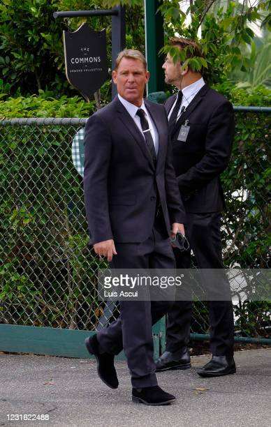 Shane Warne arrives to the funeral service of Australian music promoter Michael Gudinski, on March 10, 2021 in Melbourne, Australia. Australian music...