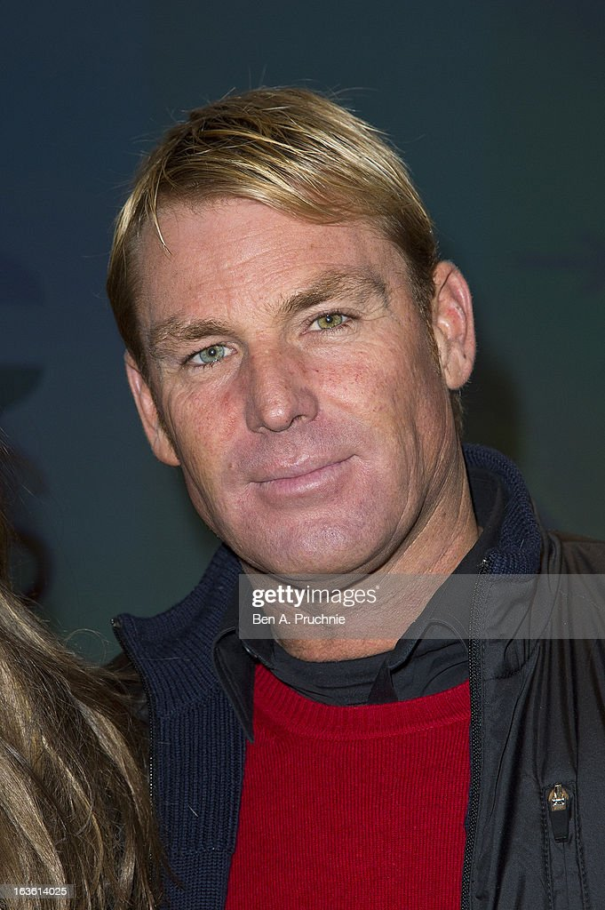 Shane Warne attends the screening of Tania Bryer's CNBC interview with former President Bill Clinton on March 13, 2013 in London, England.