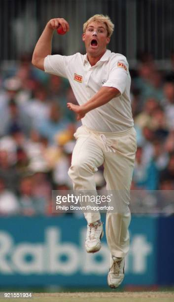 Shane Warne bowling for Australia during the 6th Test match between England and Australia at The Oval, London, 19th August 1993. It was Warne's first...