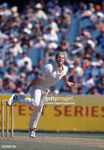 Shane Warne bowling for Australia in the 2nd Test match between Australia and England at Melbourne Australia 29th December 1994