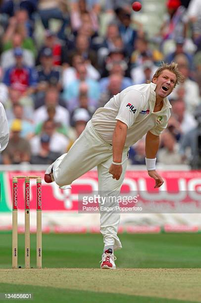 Shane Warne brought his Test tally to 599 wickets, England v Australia, 2nd Test, Edgbaston, Jul 05.