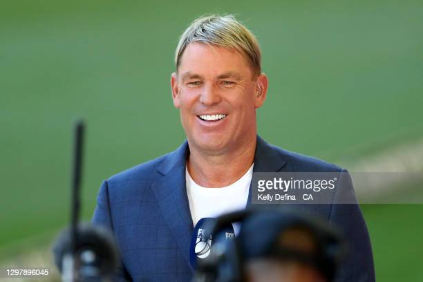 Shane Warne commentates during the Big Bash League match between the Melbourne Renegades and the Brisbane Heat at Marvel Stadium, on January 23 in...