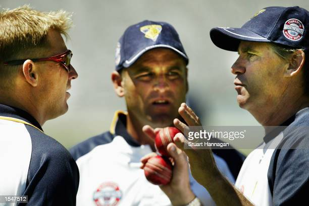 Shane Warne Darren Berry and Coach of the Victorian Bushrangers David Hookes discuss tactics leading into tomorrow's Pura Cup cricket match to be...