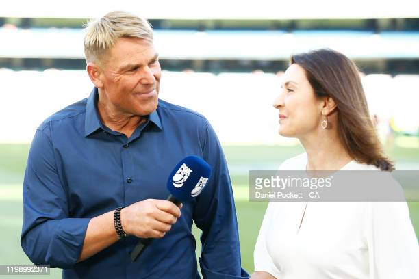 Shane Warne is seen ahead of the Big Bash League match between the Melbourne Stars and the Sydney Sixers at the Melbourne Cricket Ground on January...