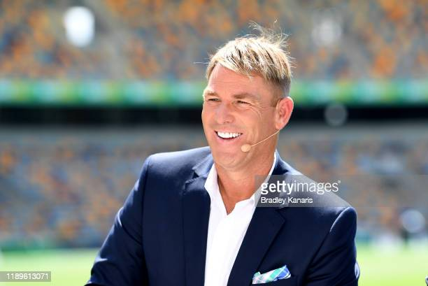 Shane Warne is seen during day four of the 1st Domain Test between Australia and Pakistan at The Gabba on November 24, 2019 in Brisbane, Australia.