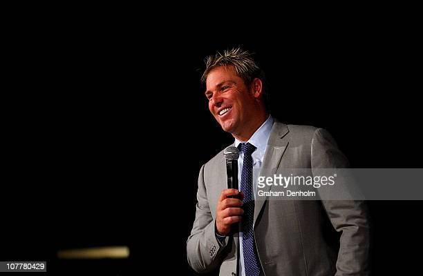 Shane Warne laughs during the Shane Warne Foundation Boxing Day Breakfast at the Crown Entertainment Complex on December 26, 2010 in Melbourne,...