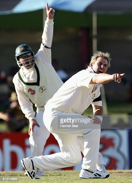 Shane Warne of Australia appeals unsuccessfully during day one of the First Test between Australia and Sri Lanka played at Marrara Oval on July 1...