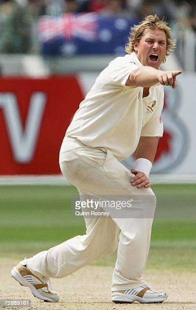 Shane Warne of Australia appeals usuccessfully for a wicket during day three of the fourth Ashes Test Match between Australia and England at the...