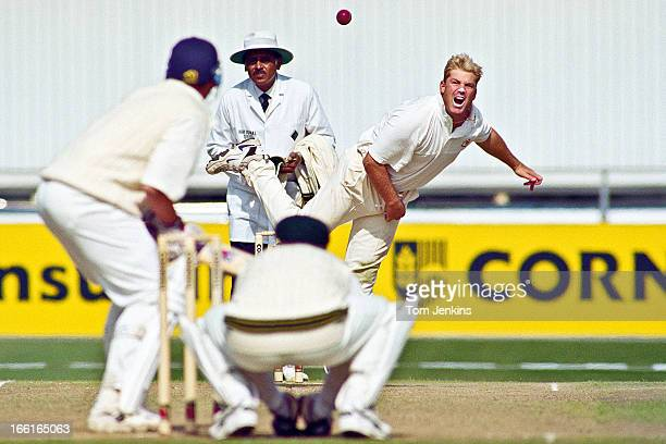 Shane Warne of Australia bowling during the 3rd Ashes Test Match against England at Old Trafford cricket ground on July 4 1997 in Manchester An image...
