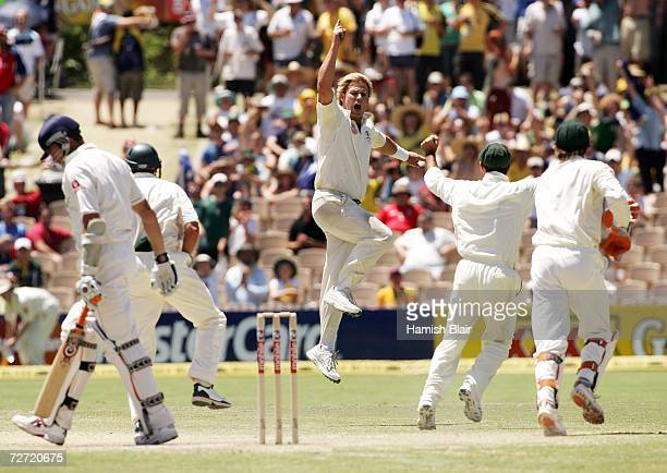 Shane Warne of Australia celebrates dismissing Ashley Giles of England during day five of the second Ashes Test Match between Australia and England...