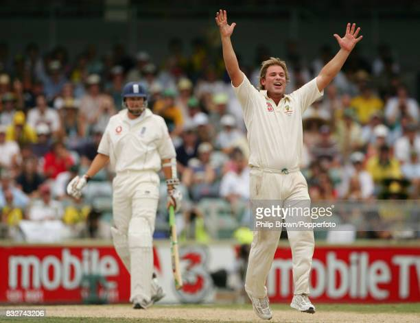 Shane Warne of Australia claims the wicket of Steve Harmison of England during the 3rd Test match between Australia and England at the WACA Perth...