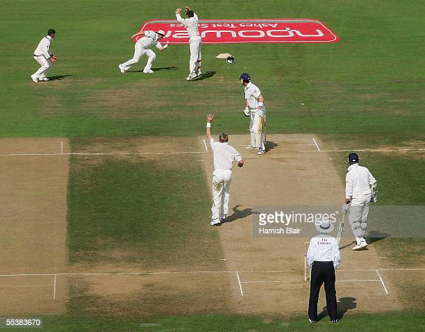 Shane Warne of Australia drops a catch from Kevin Pietersen of England during day five of the Fifth npower Ashes Test between England and Australia...