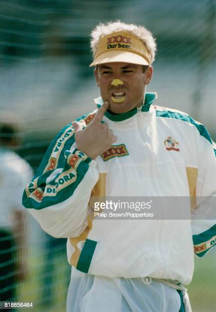 Shane Warne of Australia during a nets session before the 2nd Test match between England and Australia at Lord's Cricket Ground London 16th June 1993