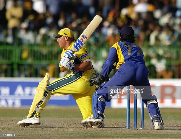 Shane Warne of Australia in action during the ICC Champions Trophy semi-final match between Sri Lanka and Australia held on September 27, 2002 at the...