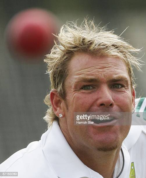 Shane Warne of Australia in action during training at Kingsmead on March 22 2006 in Durban South Africa