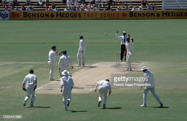Shane Warne of Australia is given out LBW for 2 runs to Chris Lewis of England during the 4th Test match between Australia and England at the...
