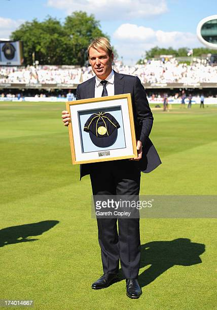 Shane Warne of Australia is inducted into the ICC Hall of Fame during day two of the 2nd Investec Ashes Test match between England and Australia at...