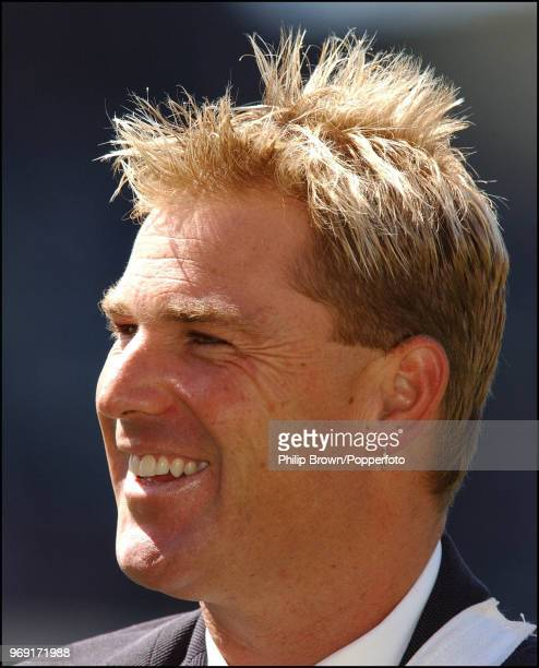 Shane Warne of Australia is interviewed during the 4th Test match between Australia and England at the MCG Melbourne Australia 26th December 2002...