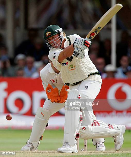 Shane Warne of Australia plays a wild shot during day two of the Second npower Ashes Test between England and Australia played at Edgbaston on August...
